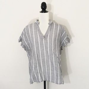 Banana Republic M Striped Split Neck Ruffle Top